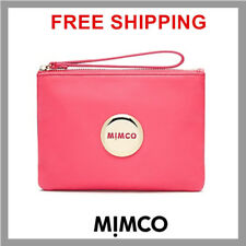 GENUINE MIMCO Lovely Medium Pouch Fuchsia Pink Gold Badge leather RRP$99.95 DF