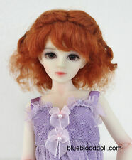 "1/4 or 1/3 bjd 7-8"" doll wig carrot red braid curly real mohair dollfie minifee"
