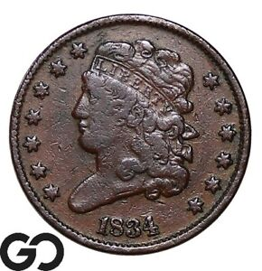 1834 Half Cent, Classic Head, Early Date Collector Copper