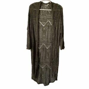 Umgee Womens S/M Green Crochet Extra Long Cardigan Knit Sweater