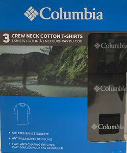Columbia 3-Pack Crew Neck Cotton T-Shirts Sizes: M, L, XL Black Cotton Tees