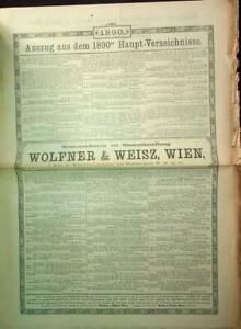 Samenculturen und Samenhandlung: Wolfner & Weisz Wien: Auszug aus dem 1890er Hau