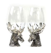 Paire de cerf Highland étain massif verre à vin supports et LUNETTES PRESENTATIO