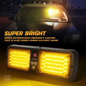 Xprite Amber/Yellow 86 LED Strobe Light Sunshield Visor Mount Emergency Warning