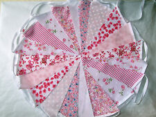 80ft/24m PINK . FLORAL .BUNTING WEDDINGS vintage shabby chic handmade PINK 80.