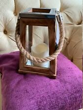 Wooden Battery Operated LED Candle Lantern with Rope Handles