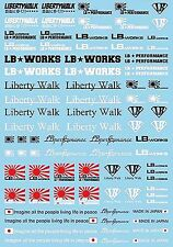 Liberty Walk Motorsport Sponsoren Tuning Street Racing 1:18 Decal Abziehbilder