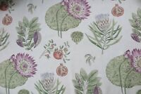 "SANDERSON CURTAIN FABRIC DESIGN  ""Lily bank"" 2.6 METRES FOREST/FIG LINEN BLEND"