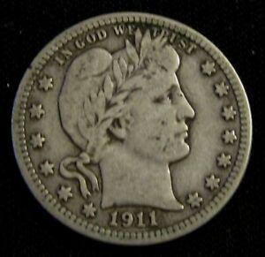 1911-S 25C Barber Liberty Head Silver Quarter AN9