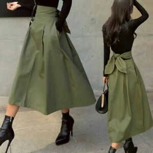 Skirts with Waist Bow Empire Korean Style Cotton Fashion Solid Color Long Women