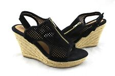EURO SOFT BY SOFFT Black Suede Leather Perforated Raffia Wedges Sandals 8.5