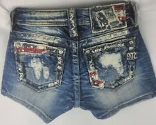 Miss Me Short Flag Low Rise Stretch Girls Denim Shorts 10 x 2.5 KE8704H