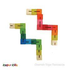 Sensory Fidget Toys 2x Wooden Twist & Click Elastic Puzzle Blocks! Therapy ASD