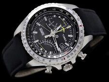new TIMEX men's Watch Flyback Chronograph T2P101 Black Leather Bracelet Aviator