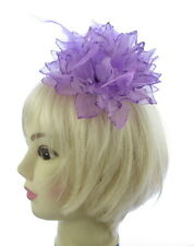 Violet Lilas brillant et plume Barrette, Mariages, Courses