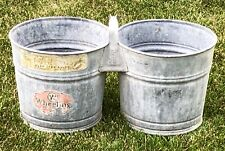 Vintage RARE WHEELING DOUBLE Galvanized Tin Metal Bucket Handled Pail