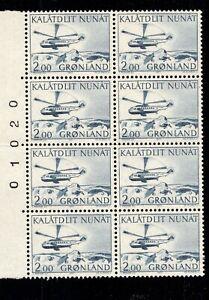 ES-15055 Greenland Helicopter Scott 85 MNH 1977 transportation Plate Block of 8