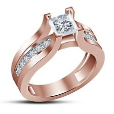 Rose Gold Finish 925 Silver D/Vvs1 Diamond Engagement Ring Women's Wedding Ring