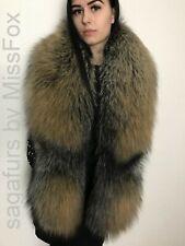 Gold Cross fox fox fur stole.SagaFox. Extra Long.New skins.