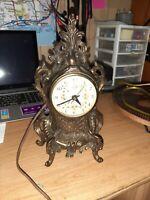 Vintage Art Deco Electric Mantel Clock, Gilded Gold Scrolling, Brass