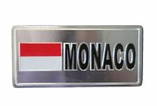 MONACO  COUNTRY FLAG-SILVER LICENSED STICKER FLAG PLATE..SIZE: 6 X 3 INCH