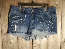 Forever 21 Women's Shorts Beaded Studded Jean Size 26 Shortie Distressed