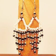"3"" LONG Handmade Black & White Chandelier Style Dangle Seed Bead Earring"