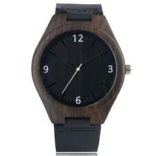Popular Black Face Bamboo Genuine Leather Band Strap Women Men Wrist Watch
