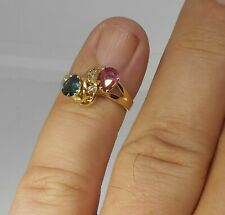 Spinel & Diamond Bypass Ring 14k Yellow Gold Pink & Blue Pear Cut Spinel Size 6
