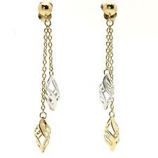 18K Multi-Colored Gold Double Twist Dangling Stud Earring