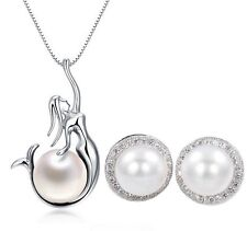 925 Sterling Silver Freshwater Pearl Mermaid Pendant Necklace Earrings Set J18