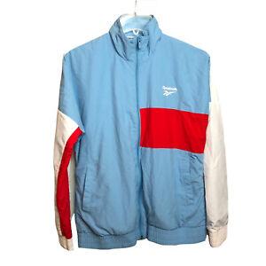 Reebok Classic Women's Vector Jacket Wind Breaker Sz S Light Blue White Red