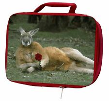 More details for kangaroo with red rose insulated red school lunch box/picnic bag, ak-1rlbr
