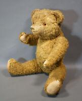 Antique 17'' Russian Straw Stuffed Big Teddy Bear with Growler Brown Glass eyes