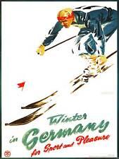 TRAVEL TOURISM WINTER SPORT SKI SNOW LIESURE GERMANY ART PRINT POSTERBB8478B