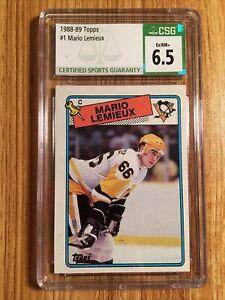 mario lemieux card csg 6.5 ex/nm+ 1988-89 topps penguins hof goat