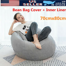 US 70*80CM Bean Bag Chair Sofa Seat Cover Indoor Lazy Lounger Gaming Adult Kids