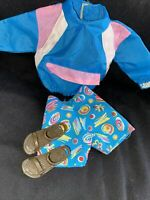 Vintage Barbie Ken Pink and blue jacket matching shorts sandals