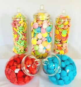 5 Large Plastic Sweet Jars for Truly Sweet Candy Buffet, Sweet Table, Wedding