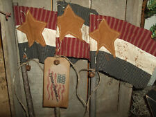 Primitive TRIO Grungy Patriotic American USA Flag Pokes Tucks Ornies Folk Art