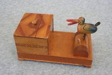 Mechanical Bird Cigarette Box Vintage Japan Inlay Ibex on Slide Top Folk Art