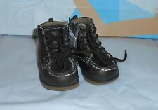 The Childrens Place Toddler Boys Faux Leather Laced Shoe Boots Brown 3T NWT