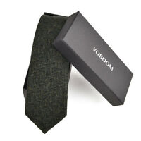 Men's Wool Ties Herringbone Tweed Classic Business Wedding Formal Wool Ties B3
