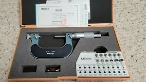 Mitutoyo 126-138 Screw Thread Micrometer with 12 ANVILS,  1-2 inch,.001 Grade