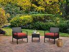3piece Wicker Rattan Patio Outdoor Furniture Conversation Sofa Bistro Set Garden