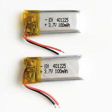 2 pcs 3.7V 100mAh LiPo polymer Battery 401225 cells For Mp3 headset bluetooth