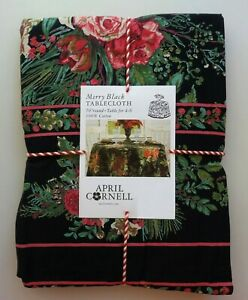 """April Cornell MERRY Black Red Green Floral Holiday 70"""" Round Tablecloth Cotton"""