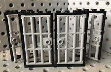Lego Door 1x4x6 Lt.Gray Doors W/Black Frames Police Prison Jail Castle 4pc