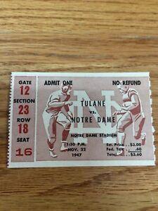 1947 NOTRE DAME FOOTBALL VS TULANE FOOTBALL TICKET STUB