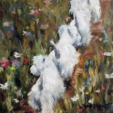 SPARROW Westie West Highland Terrier Wildflowers Gift for Dog Lover PRINT art